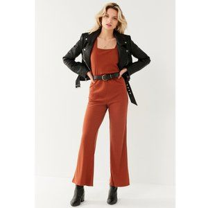 Urban Outfitters Lita Ribbed Knit Jumpsuit Rust